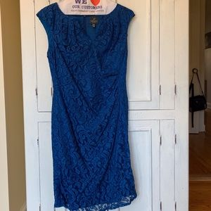Adrianna Papell Blue Lace Sheath Dress